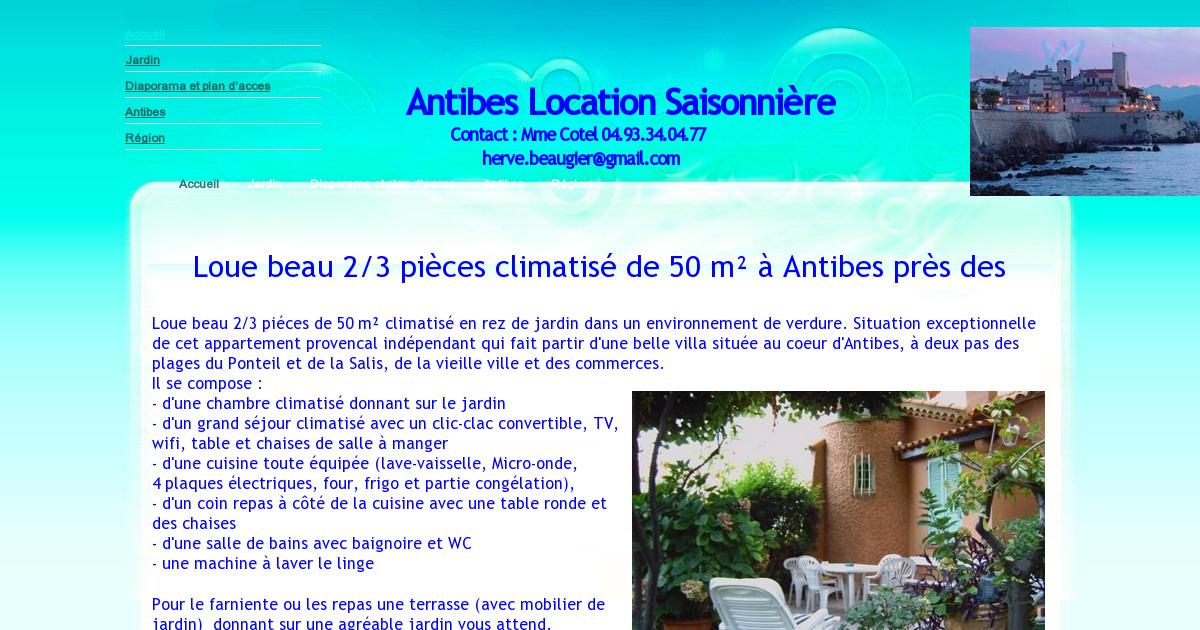Antibes location saisonni re accueil - Location rez de jardin antibes ...